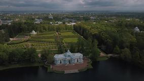 Flight over the Chinese village in Catherine's park in Pushkin stock video footage