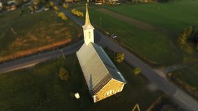 Flight over the church. Aerial footage stock video footage