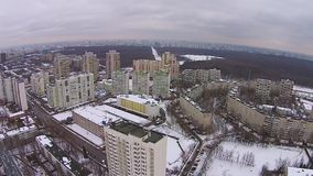 Flight over the city houses stock video footage