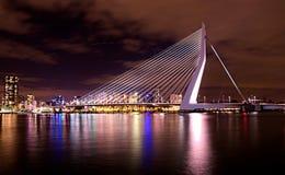 Flight over City. Rotterdam at night. View on the Erasmusbrug bridge Stock Images