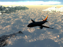 Flight over the clouds. In the mountains Royalty Free Illustration