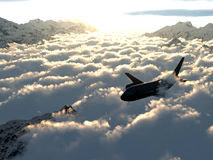 Flight over the clouds. In the mountains Stock Illustration