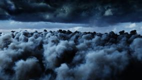 Flight over the clouds. 3d rendering. Flight over the clouds. 3d rendering Stock Photography