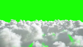 Flight over the clouds. Realistic 4k animation. Green screen.