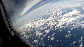 Flight over clouds view from cockpit plane. stock video footage