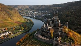 Flight over Cochem castle, Germany stock video