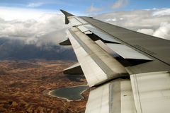 Flight over cusco. Andes, peru royalty free stock photos