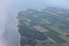Flight over Denmark Stock Photography