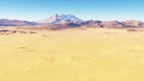 Flight over the desert landscape, red planet