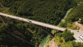 Flight over Djurdjevica Bridge across the Tara River Canyon. Montenegro. stock footage