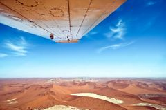 Flight over dunes and Sossusvlei in Namib-Naukluft National Park Namibia Royalty Free Stock Images