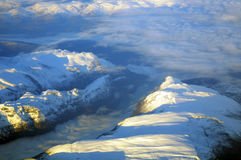 Flight over fjords Royalty Free Stock Images