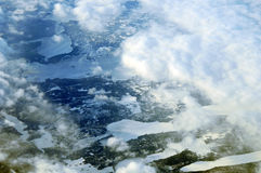 Flight over fjords Stock Photography