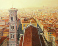 Flight over Florence. An oil painting on canvas of an aerial city view of Florence in Italy with Giottos bell tower and the cathedral in the warm golden light of Stock Image