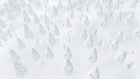 Flight over frosty winter fir forest Royalty Free Stock Photos