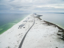 Flight over the Gulf of Mexico and Beach in Pensacola with Empty Road. Flight over the Gulf of Mexico and Beach in Pensacola Stock Photography