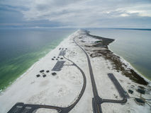 Flight over the Gulf of Mexico and Beach in Pensacola with Empty Road with Parking Arean Stock Image