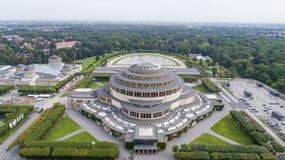 Hala Stulecia, Wrocław, UNESCO, Poland, 08.2017, aerial view royalty free stock images
