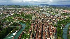 Flight over Altstadt, historic part of Bern, the capital of Switzerland. Flight over historic part of Bern stock video footage