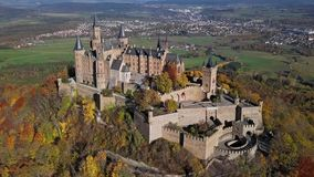 Aerial view of Hohenzollern Castle, Germany. Flight over Hohenzollern Castle in the Swabian Jura, Baden-Wurttemberg, Germany stock video footage