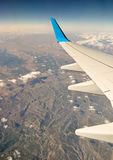 Plane wing over Spain Royalty Free Stock Photo