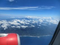 Flight over Java Island. The airplane was about to be landed on Java, Indonesia Stock Photography