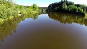 Flight over lake Leinecksee stock video