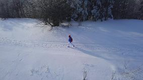 Flight over the lonely tourist girl walking along the top of a mountain covered with snow. Clear frosty weather. Aerial view on the lonely tourist girl walking stock video footage
