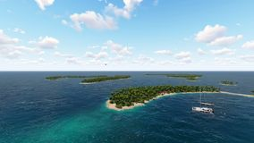 Flight over the Maldives over the ocean. Private plane flies over tropical island with beautiful beaches and yachts in the sea. 3D animation. Three dimensional stock illustration
