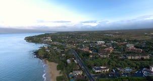 Aerial view of the western Maui coast. A flight over the Maui coast. 4K footage stock video footage