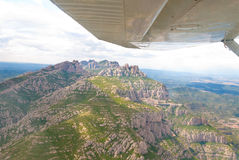 Flight over Montserrat. Catalonia, Spain. Stock Photos