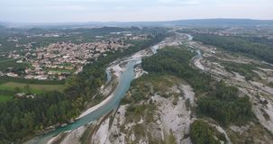 Flight over mountain river. Video 4k flight over the mountain river water, travel around Italy. flight over mountain river. the nature of Italy from a bird`s eye stock video