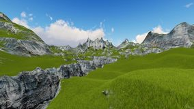 Flight over the mountain valley 3D render vector illustration
