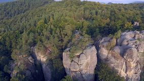 Flight over Mountains Peaks, Sunset, Flight above forest an mountains, Dovbush aerial, fly over rocks, stock video footage
