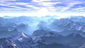Flight Over The Mountains To The Sunrise stock footage