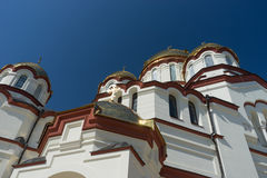 Flight over the new Athos monastery in Abkhazia. The architecture of the new Athos monastery in Abkhazia Stock Images