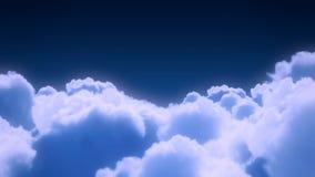 Flight over the night sky