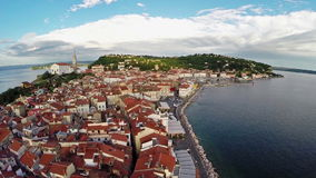 Flight over old city Piran, aerial panoramic view. stock video footage