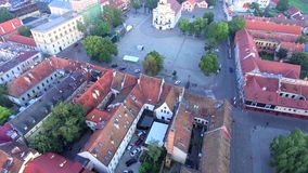 Flight over old town stock footage