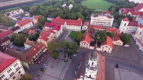 Flight over old town stock video footage