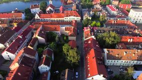 Flight over old town stock video