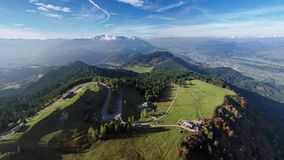 Flight over Rossfeld mountain panoramic road, Berchtesgaden, Germany. 360 degrees aerial panorama of Rossfeld Panorama road, Berchtesgadener Land, Bavaria stock video