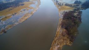 Flight over the Rusne stock video