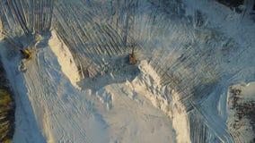 Flight over the sand mining company stock video