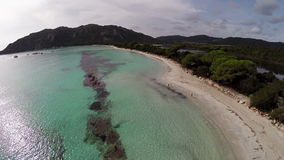 Flight over sea bay in France, Corsica, Santa Giulia beach. Aerial view. stock video