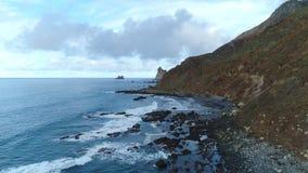 Flight over seashore at Tenerife stock video