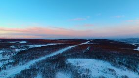 Flight over the snow-covered forest stock footage