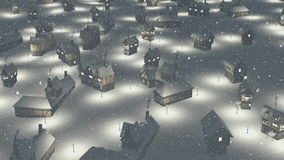 Flight over snowbound township at night. Flight over snow-covered roofs of the cozy european township at magical snowfall night. Decorative 3D animation royalty free illustration