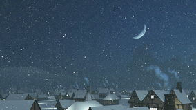 Flight over snowy roofs with smoking chimney. Dreamlike winter townscape. Flight over snow-covered roofs with smoking chimney at snowfall night with half moon in stock illustration