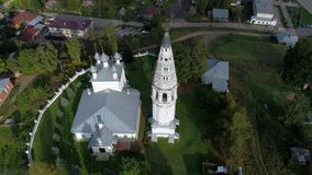 Flight over the Spaso-Preobrazhensky Cathedral aerial video. Sudislavl, Russia stock footage
